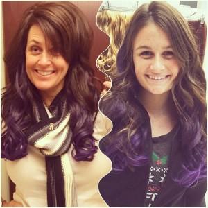 We got some purple hair!  Raising awareness in fashion a friend says:)