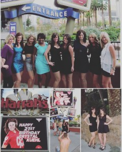 Vegas 2013, Crystal turns 21. Thank you Harrah's for making Crystal feel special. This photo was 4 weeks after a major surgery! Removal of two tumors in her pancreas, her gall bladder, her spleen & many tumors in her liver...not including radiation...WoW looking back.
