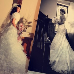 My mom on her wedding day July 1990 & Me on my wedding day July 2016. No the photo was not planned.